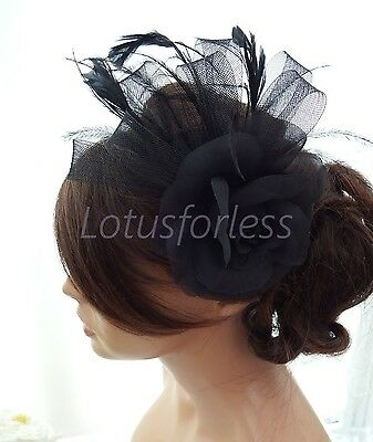 Stunning Black Rose Feather & Net Bow Hair clip Fascinator Brooch Wedding Races