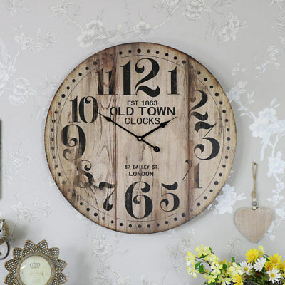 Large brown wooden vintage style wall mounted clock shabby retro chic home gift