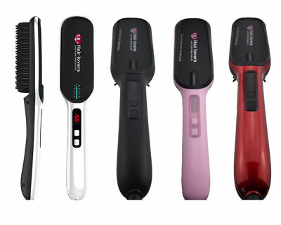 New Hair Straightening Heated Brush Detangle Comb Electric LCD Pink Black White