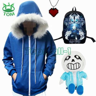 2017 Undertale Sans Blue Hoodie Coat Sweatshirt Jacket Outwear Hooded Cosplay AU