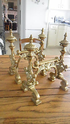 Exquisite Antique Rare Set- Gilt Bronze Rococo Fire Tool Rests Chenets Andirons