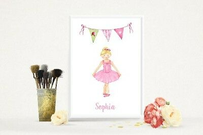Personalised Ballerina Print, Girls Bedroom Print, Nursery Print