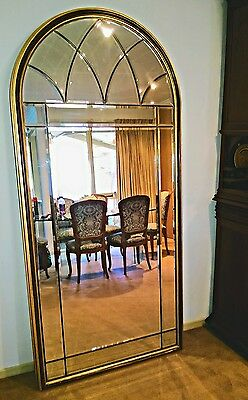 Elegant Guilded Mirror With 18 Bevelled Panels. Size 198Cm X 92Cm. Exc Condition