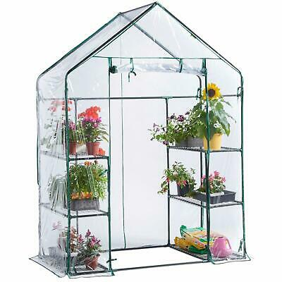 Unibos Walk In Greenhouse PVC Plastic Garden Grow Green House with 6 Shelves