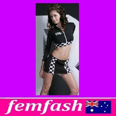 SEXY BLACK ADULT RACING COSTUME Womens erotic party lingerie Size 8 10 12 #1627