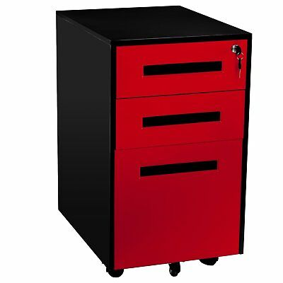 3-Drawer Mobile File Cabinet with Keys, Fully Assembled Except Casters Red Black