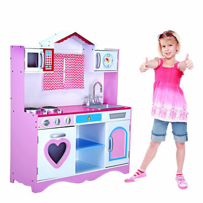 Large Girls Boys Kids Wooden Play Kitchen Role Play Pretend Toy Furniture  Safe