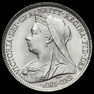 1898 Queen Victoria Veiled Head Silver Sixpence, A/UNC