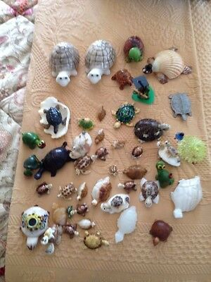 40+ Vintage Turtle's Lot -ceramic, glass, plastic, marble, brass + other types