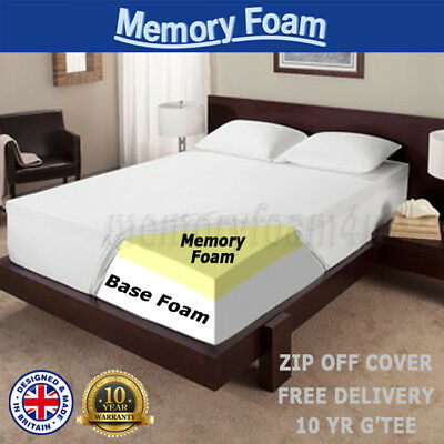 12.5cm MEMORY FOAM MATTRESS SINGLE DOUBLE KING 4FT6 5FT BED SIZE MATRESS ON SALE