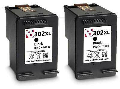 2 Cartuccia di Inchiostro rigenerata 302 XL. Nero per HP Officejet 3830