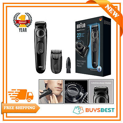 Braun Beard Trimmer Men Adjustable Length Cordless Rechargeable Shaver & Clipper