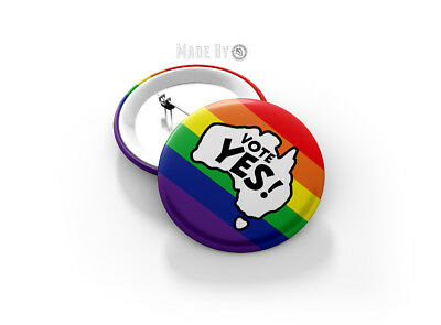 Vote YES 58mm Gay Pride Button Badge - BRAND NEW - LGBTQI Marriage Equality