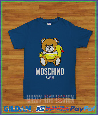 NEW MOSCHINO TEDDY BEAR SWIM BLUE GILDAN T-Shirt Size S M L XL XXL ... 79ccb903eb2