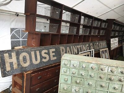 """c1900-10 HOUSE PAINTING & GLAZING wooden antique sign 16' x 15"""" x 1"""" black-white"""