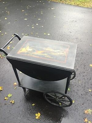 Mid Century Wooden Tea Cart Table Antique Wagon Wheels Drawer Drop Leaf Intact.
