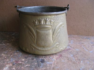 Antique French B L'hoste Tin Lined Brass Pot