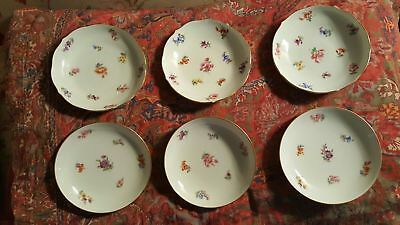 GORGEOUS 6   FLORAL MEISSEN CROSSED SWORDS plates dishes