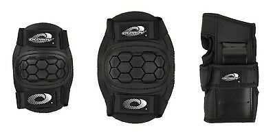 Boys Girls Childs Skate Cycle Knee Elbow Wrist Protection Pads Set Black Small