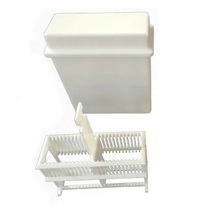 2 in 1 White 24 Pieces Microscope Slides Staining Rack Dish Set Y2Q1