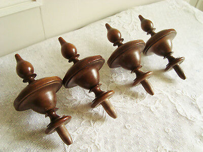 Four Antique French Wooden Finials Furniture Wood Topper Embouts Toupies Bois