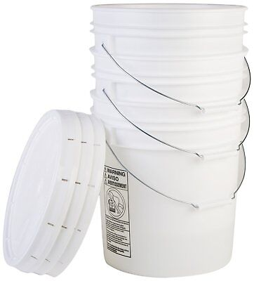 Hudson Exchange 90 Mil HDPE Bucket with Handle and Lids, 5 gal, White, 3 Pack