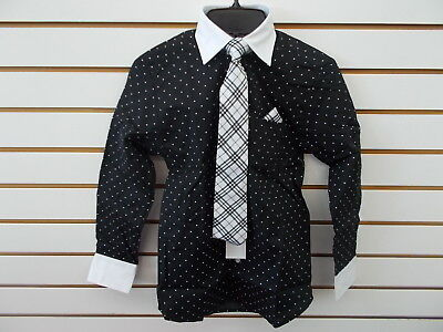 Boys Young Kings by Steve Harvey $40 Black w/ Polka Dots Dress Shirt Sz 8 - 20