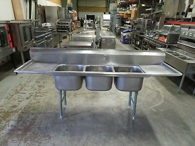 """90"""" Stainless Steel 3 Compartment Commercial Sink with 2 Drainboards"""