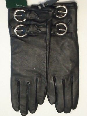 Ladies Double Silver Cuff Buckle Genuine Leather Gloves,Black