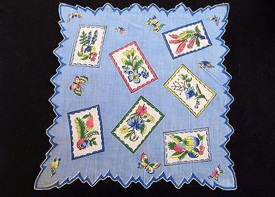 Vintage 1950's Printed Shaped Edge Handkerchief Hanky  - Flowers & Butterflies