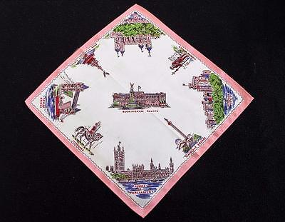 Vintage 1950's Printed Souvenir Handkerchief Hanky  - London - Buckingham Palace