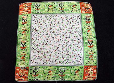 Vintage 1930's Printed Silk Handkerchief Hanky - Stylised Aztec Design