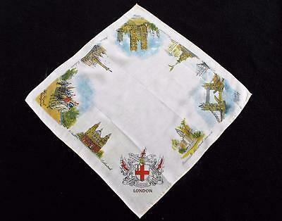 Vintage 1930's Printed Souvenir Handkerchief Hanky - London - Tower Bridge Eros