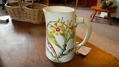 Antique Ceramic Porcelain Small Milk Pitcher Hand Painted, Dragon Fly/ Flowers