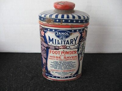 Vintage Zanol Military Foot Powder Tin~Great Graphics~