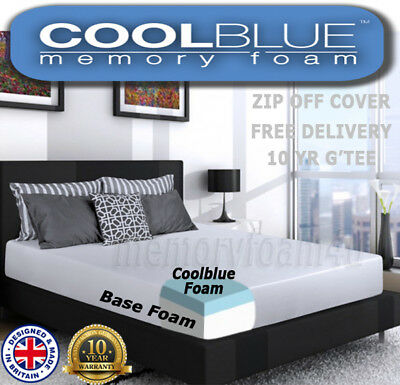 Cool Blue Memory Foam Matress 3ft Single 4ft 4ft6 Double 5ft All Foam Mattress