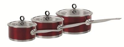 Morphy Richards Acents 3 Piece Pan Set in Red 16/18/20cm - 46391