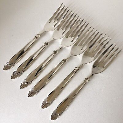 Set Of 6 Angora Silver Plate Cake Forks