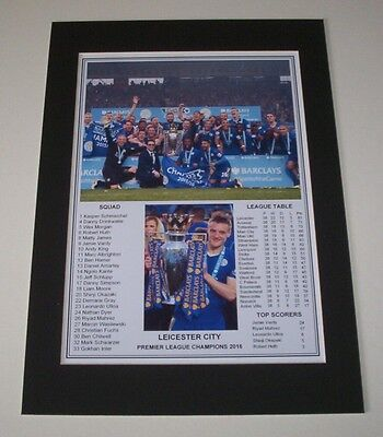 Leicester City - 2016 Premier League Champions Print Mounted To A4