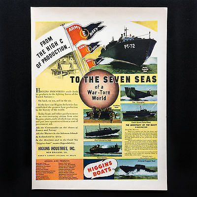 1942 HIGGINS BOATS WW2 Military Landing Craft vintage print ad large magazine