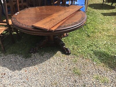 "c1890 R J HORNER 60"" round quartersawn oak antique dining room table ex. Museum"