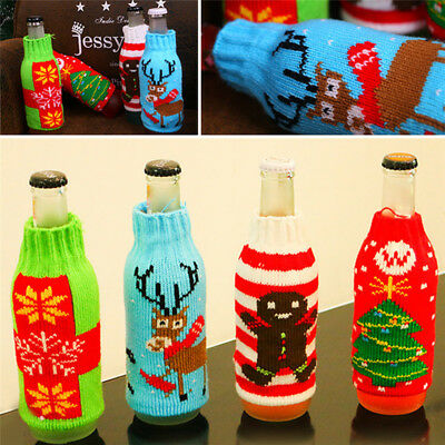 Christmas Beer Bottle Knitted Cover Snowflake Party Xmas Table Decor Adornment