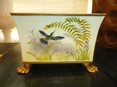 Raymond Waites Toyo Hand Painted Hummingbird Lion Paw Footed Metal Planter Box
