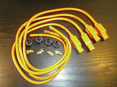 Kawasaki Z650 Taylor Hot Orange Ignition Leads & Colour Moulded Plug Caps.