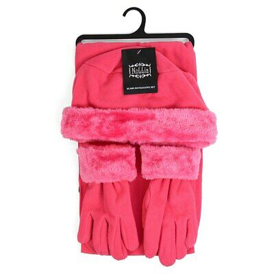 Cloche WARM Fur Trim Fleece Hat Scarf & Glove Women's Winter Set (WSET60)