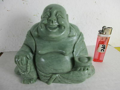 charmanter HAPPY BUDDHA  grüner Marmor Stein alte Handarbeit China ~1980 1,6 kg