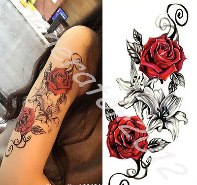 Tatouage Temporaire Tattoo Temporary fleur noir/rouge (new)