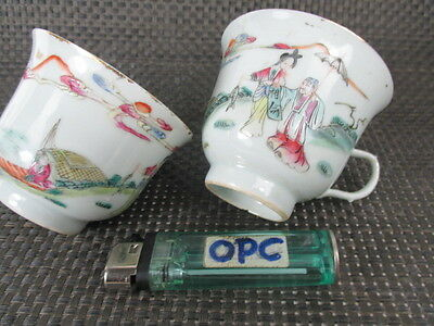 2 alte Porzellan Tassen SET China vor 1880 Famille Rose, signiert 100% original