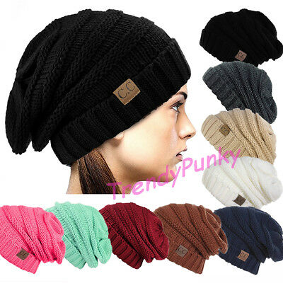 Unisex CC Beanie Slouchy Skully Thick Cap Hat Winter Cable Knit