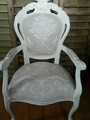Laura Ashley 'Josette' Dove Grey carver boudoir chair and matching cushion cover